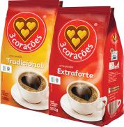 Café 3 Corações – Trad./Extra Forte – Pcte. 500g